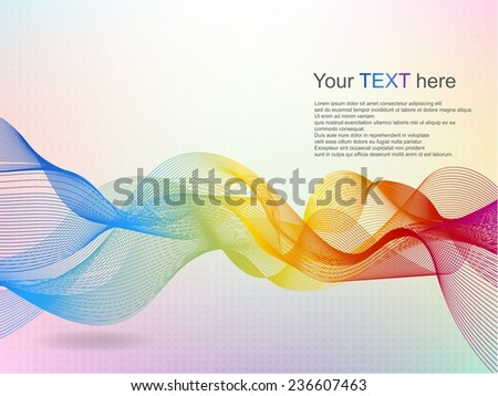 Abstract wave rainbow colored background - stock vector