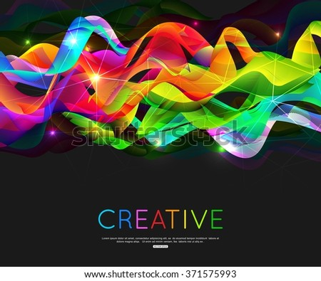 Abstract waves background. Abstract color wave design element. Vector waves. Green, blue, yellow and red waves. Abstract color curved lines background. Template for banner, poster, flyer, brochure - stock vector