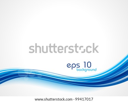 Abstract waves background in blue color, isolated on white.  EPS 10. Can be used for flyers and corporate presentations. - stock vector
