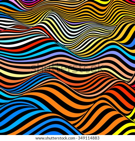 Abstract waves background in vector - stock vector