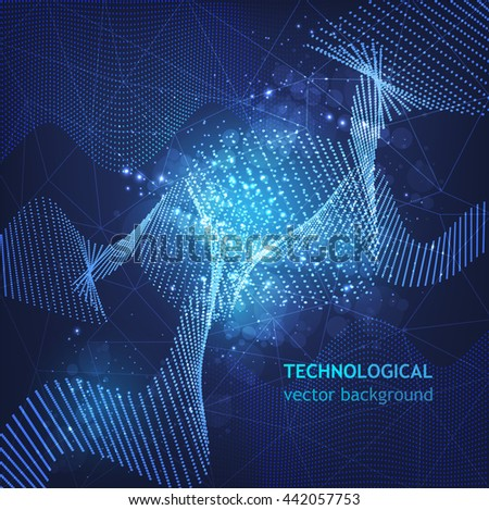 abstract waves in cyberspace technology, futuristic design vector eps 10 - stock vector