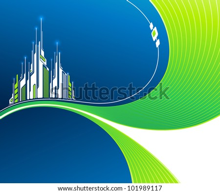 Abstract wavy background with futuristic architecture. Vector illustration. - stock vector