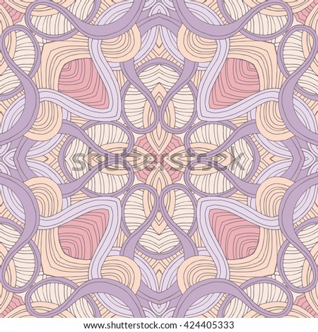 Abstract wavy line vector symmetry ornament. Can use like seamless pattern. - stock vector