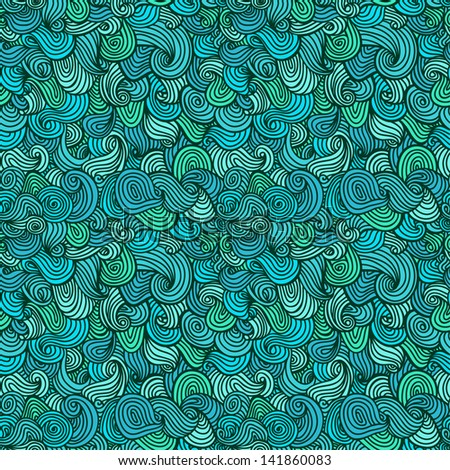 Abstract wavy seamless pattern. Decorative blue endless linear texture. template for design fabric, backgrounds, covers, wrapping paper, package - stock vector
