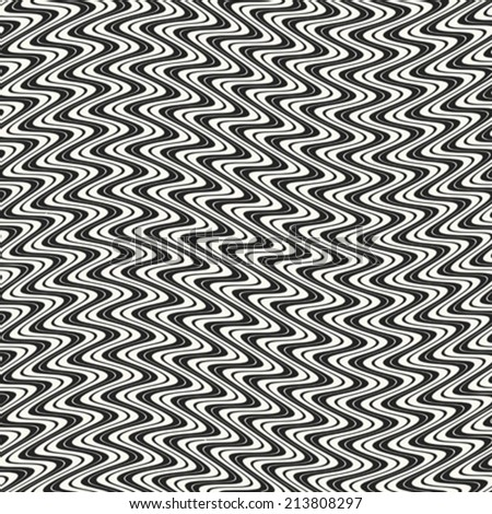 Abstract wavy striped textured seamless pattern. Vector. - stock vector