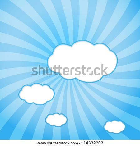 Abstract web design background with clouds with sun rays. vector illustration. - stock vector
