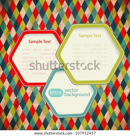 Abstract web design bubble, vector. Infographic vector background  with geometric pattern. (Background behind the panel is complete and seamless). Design elements on seamless retro background. EPS10 - stock vector