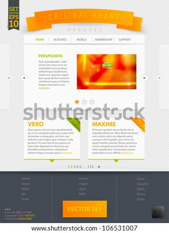 Abstract web site template design, vector eps10 | Abstract orange blur background - stock vector