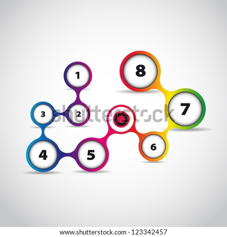 Abstract webpage template - circle theme - rainbow numbers - stock vector