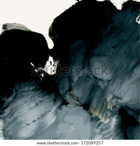 Abstract wet black and white  monotypy. Vector background - stock vector