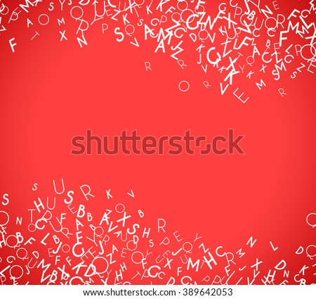 Abstract white alphabet ornament border isolated on red background. Vector illustration for education writing design. Stripe of random letters fly in middle. Alphabet book concept for grammar school - stock vector