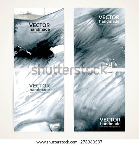 Abstract white and black watercolor monotypy texture banners set 1 - stock vector