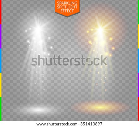 Abstract white and golden spotlight with spark on transparent background. Starlight special light effect. Glow ray, star dust, golden spark in projector beam. - stock vector