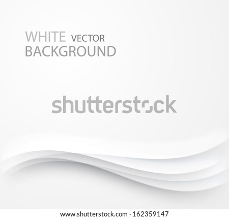 abstract white background with waves and shadows - stock vector