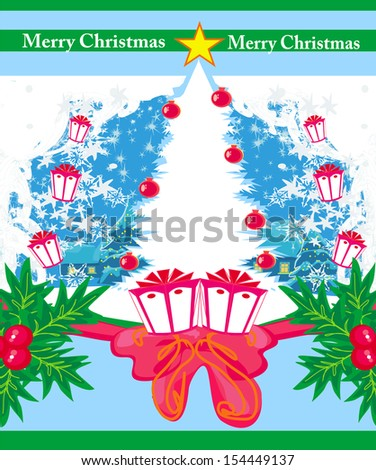 Abstract white christmas tree frame - stock vector
