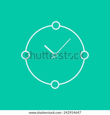 abstract white clock isolated on green background. concept of time passes, daily routine and ordinary life. flat style trendy modern logotype design vector illustration - stock vector