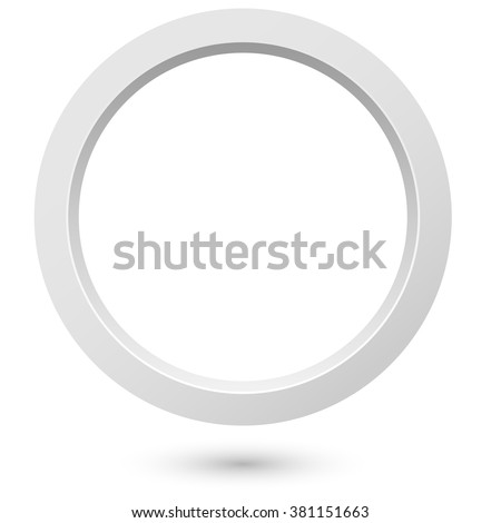 Abstract white 3d ring isolated on white background. - stock vector