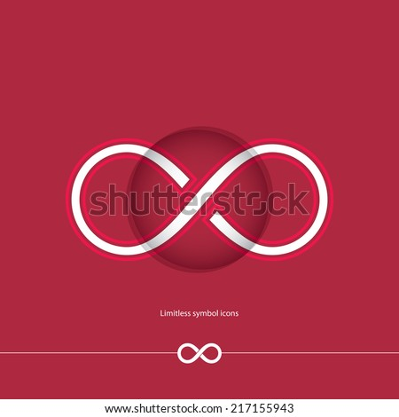 Abstract white limitless icon on red background. Vector illustration - stock vector