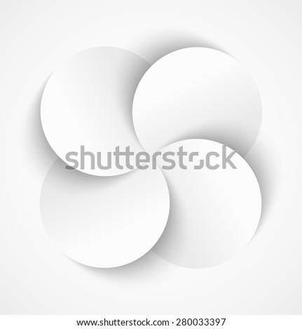 Abstract white paper circles with drop shadow in the form of flower on white background. Vector illustration - stock vector