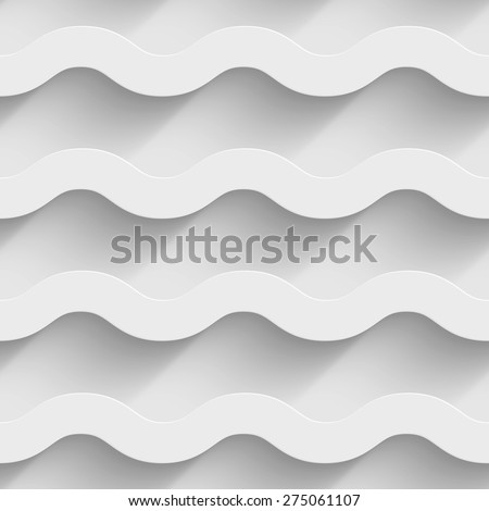 Abstract white paper 3d horizontal waves seamless background. Vector illustration - stock vector