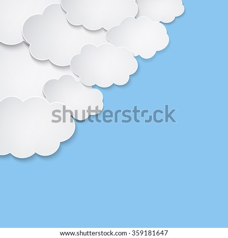 Abstract white paper speech bubble clouds on blue background - stock vector