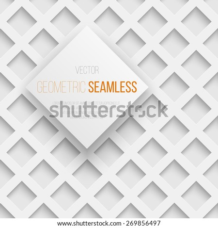 Abstract white seamless geometric square pattern with shadow. Vector illustration - stock vector