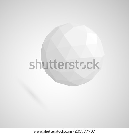 Abstract white sphere made of geometric shapes - stock vector