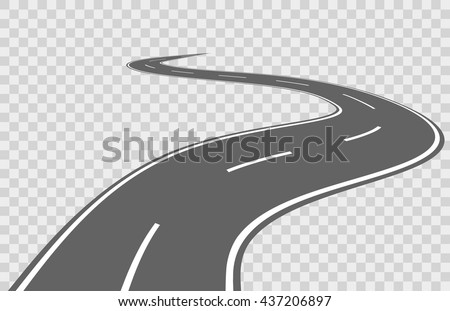 Abstract winding vector road. Road winding, travel road asphalt, street road for transportation, road highway illustration - stock vector