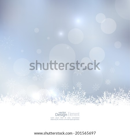 Abstract Winter Background with beautiful various snowflakes and stars - stock vector