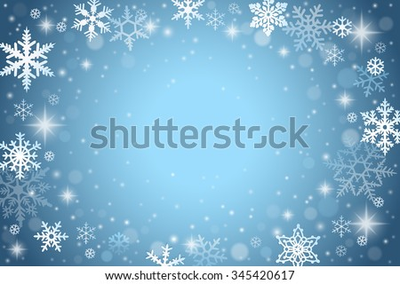 Abstract winter background with falling snowflakes - stock vector