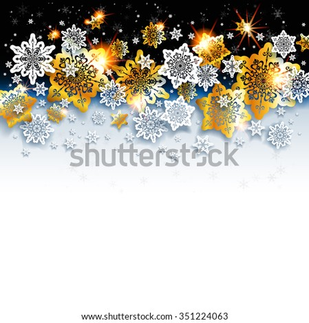Abstract winter background with shine snowflakes. Luxury Christmas golden and white snowflakes on black background. C Holiday background  for design card, banner,ticket, leaflet and so on. - stock vector