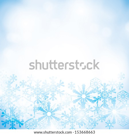 Abstract winter blue snowflakes background  - stock vector