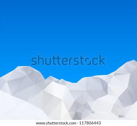 Abstract winter mountains, vector illustration - stock vector