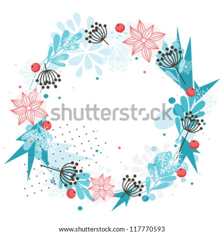 Abstract winter wreath with red berries and blue snowflakes - stock vector