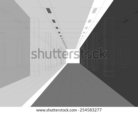 Abstract wireframe architectural background. Vector illustration - stock vector