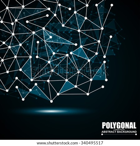 Abstract wireframe mesh polygonal background with connected lines and dots - stock vector