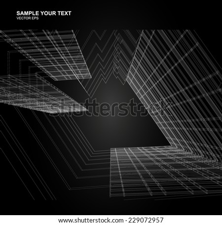 Abstract wireframe space  - stock vector
