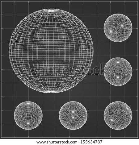 Abstract wireframe spheres set - Vector illustration - stock vector