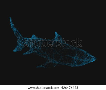 Abstract wireframed silhouette of a shark. Vector illustration. - stock vector