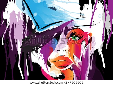 Abstract woman face. Vector illustration - stock vector