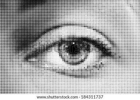 Abstract woman grey eye made from dots. Vector - stock vector