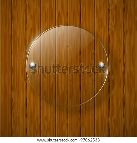 Abstract wooden background with glass framework. Vector illustration. - stock vector