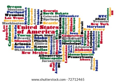 abstract word cloud based vector map of USA - stock vector