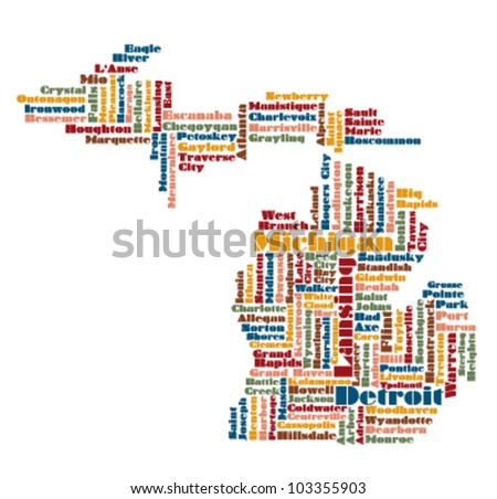 abstract word cloud map of Michigan state, usa - stock vector