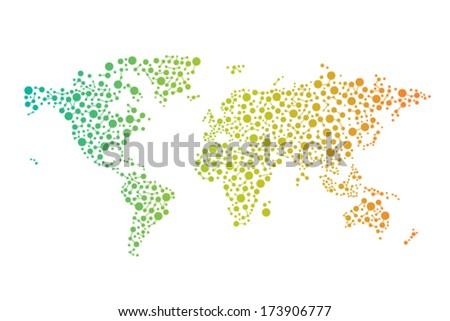 Abstract World connections map with circles, lines and color gradients. vector design - stock vector