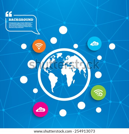 Abstract world globe. Free Wifi Wireless Network cloud speech bubble icons. Wi-fi zone locked symbols. Password protected Wi-fi sign. Molecule structure background. Vector - stock vector