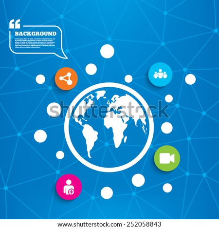 Abstract world globe. Group of people and share icons. Add user and video camera symbols. Communication signs. Molecule structure background. Vector - stock vector