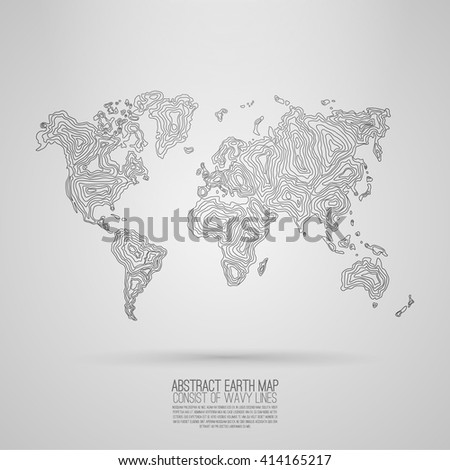 Abstract world map consist of wavy lines . Vector earth map . Decorative continents