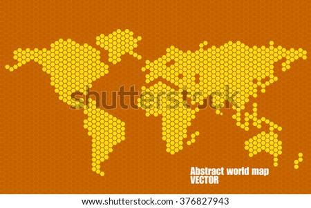 Abstract world map of hexagons. Vector illustration. Eps 10 - stock vector