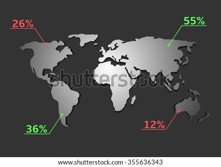 Abstract World map with red and green pointer marks. Statistic analysis, Vector illustration - stock vector